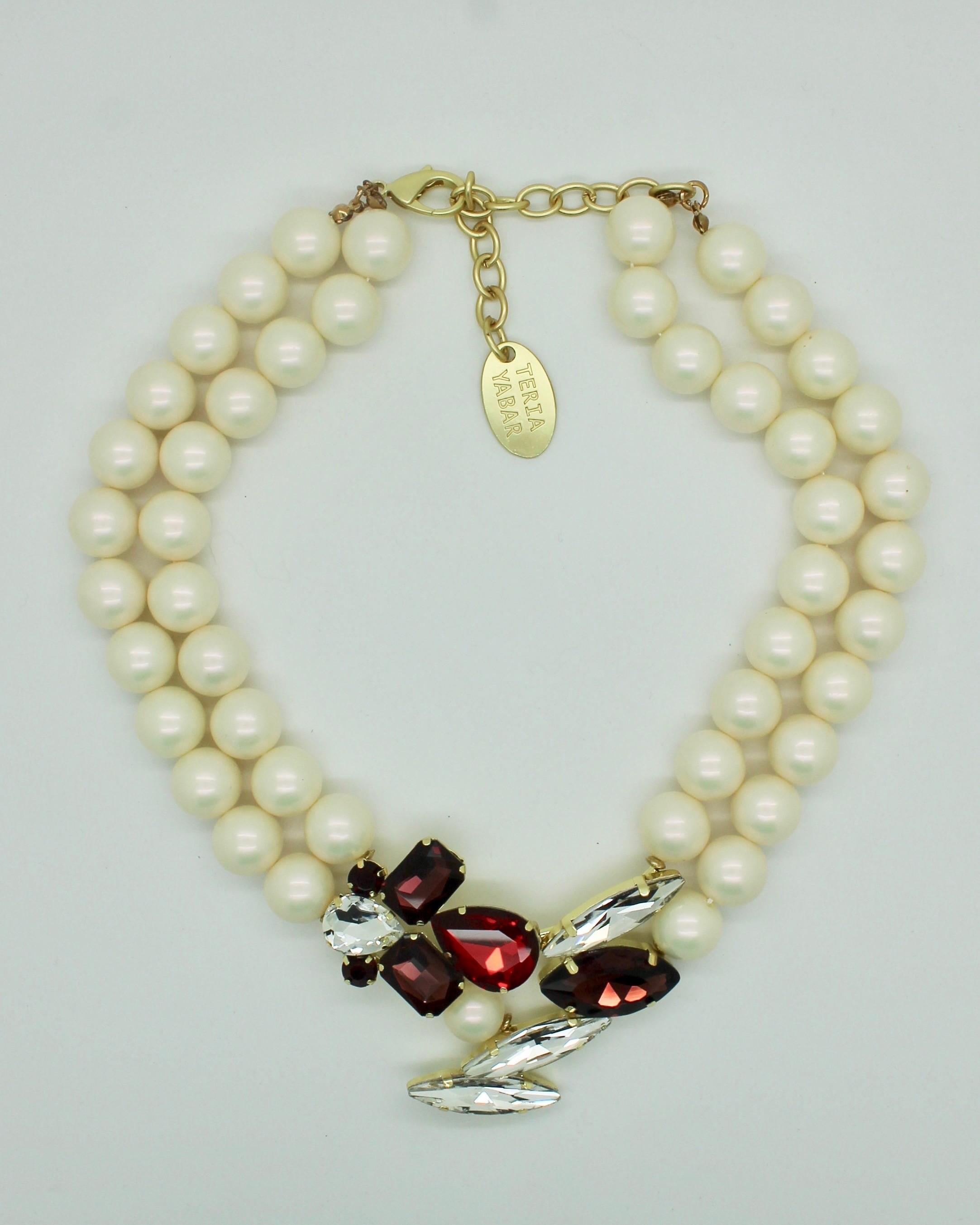 Nacrées Rougeamp; Et Collier Blanc Perles Cristaux FKcl1JT