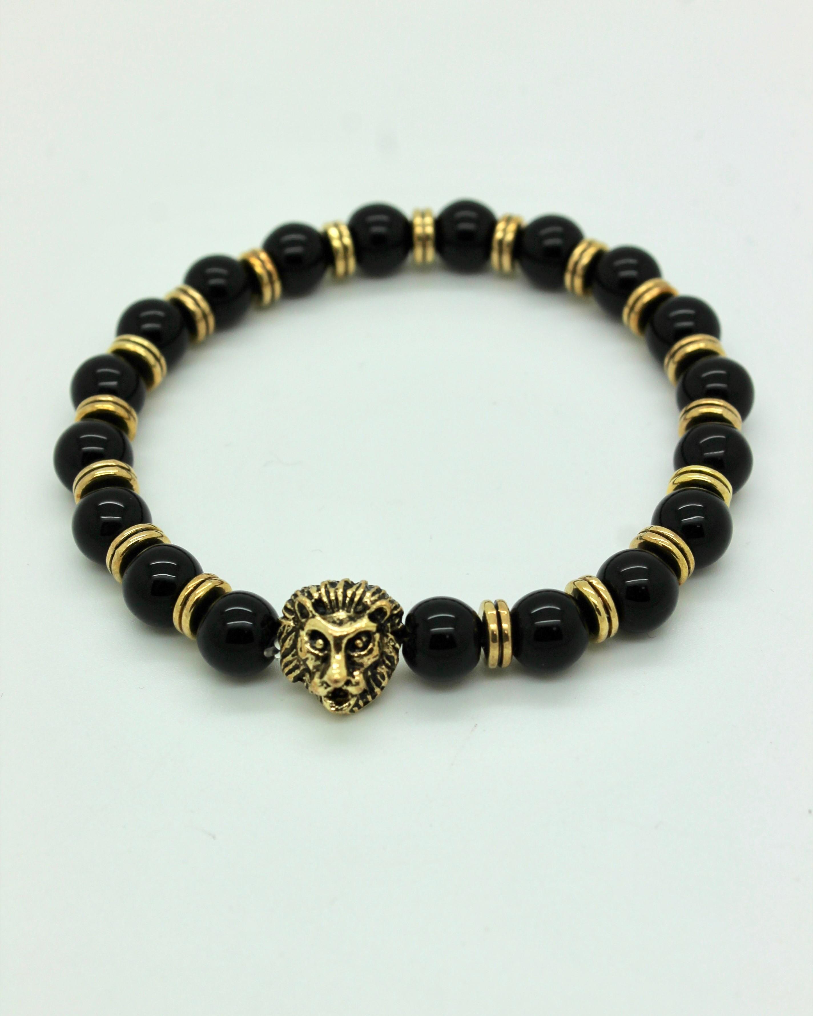 Bracelet Tête de Lion Or Perles Noires