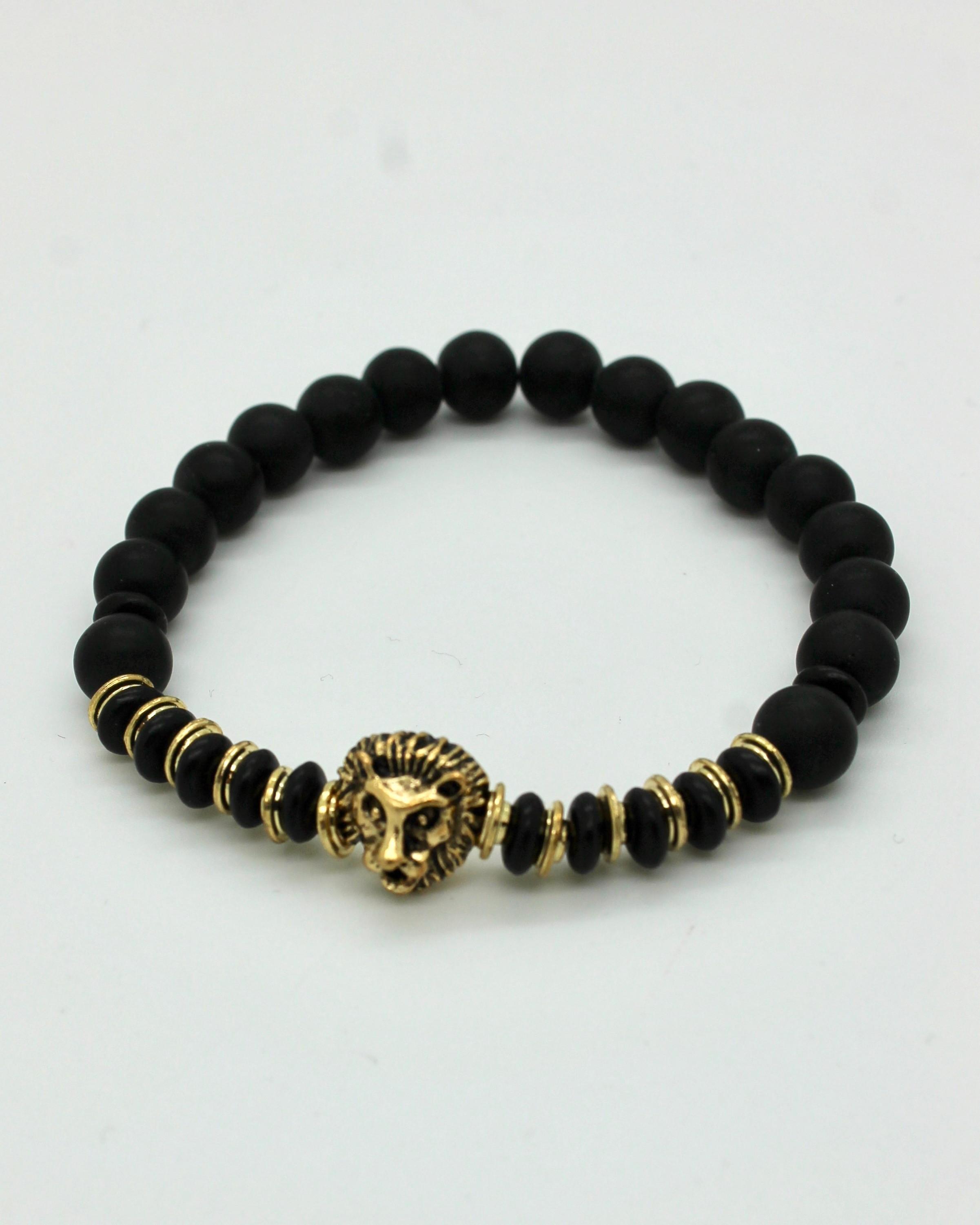 Bracelet Tête de Lion Or Perles Onyx Mat