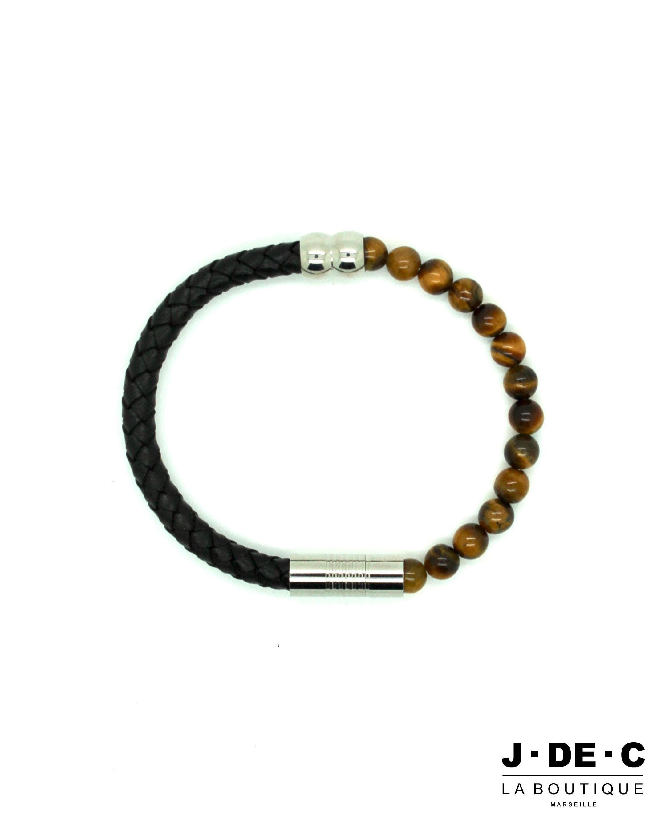 Bracelet Homme Cuir & Perles Oeil du Tigre - J.DE.C MODE