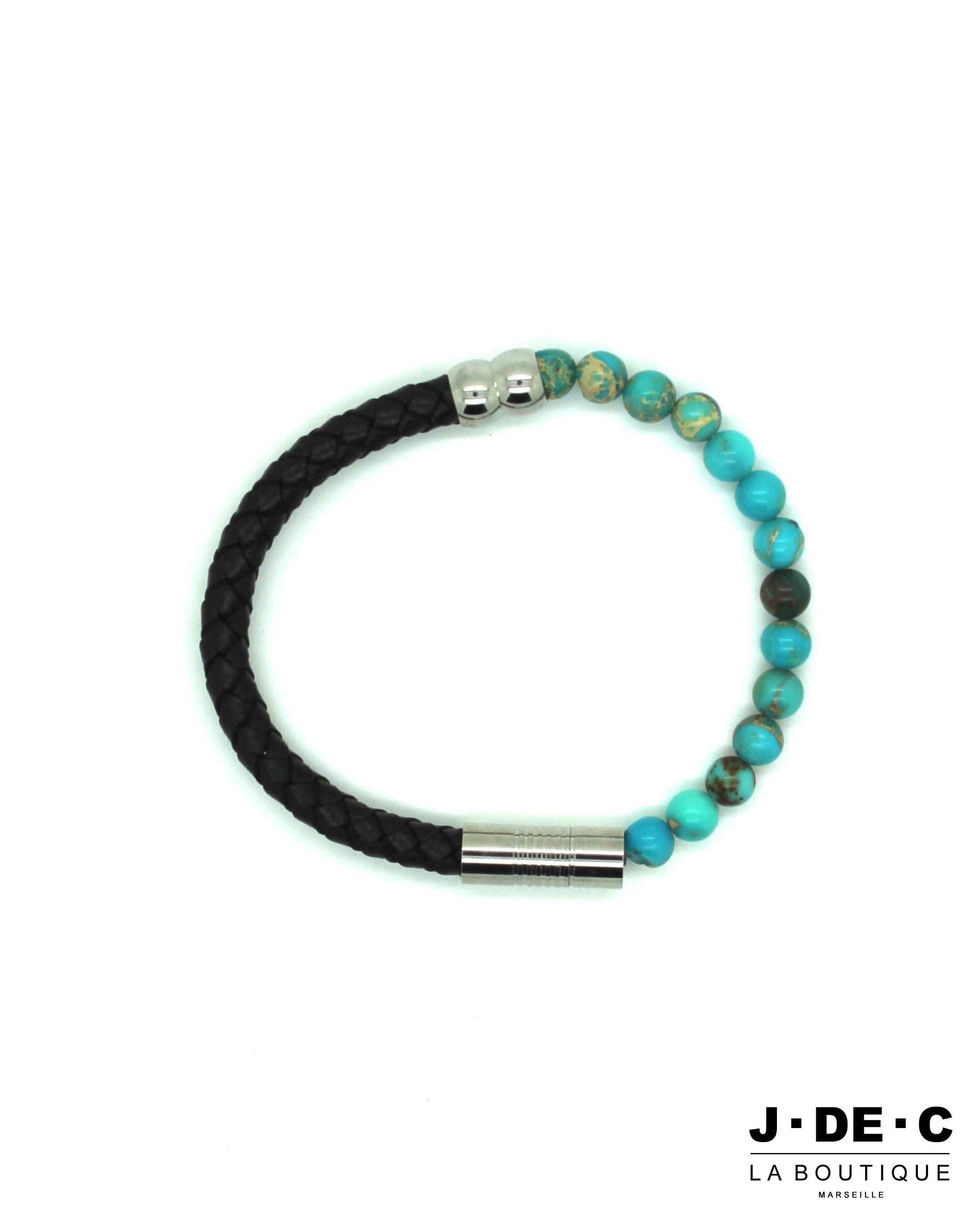 Bracelet Homme Cuir & Perles Turquoises - J.DE.C MODE